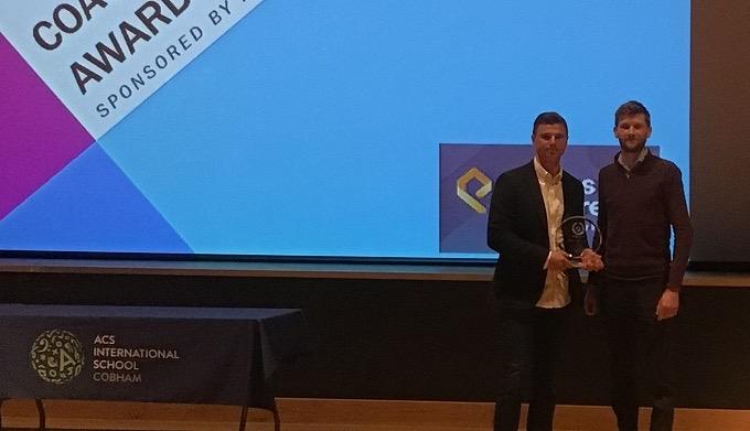James Starr receives Elmbridge Coach of the year award for Tennis Coaching at Oxshott Club